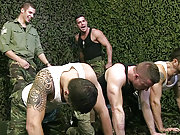 Two angry sergeants fucking three horny soldiers