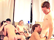 Five studs slurping their big cocks and going blow