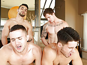 A bunch of four gay friends fuck each other hard