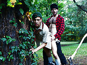 Lumberjack fucks a young gay scout in the wood