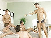 Five muscle and horny Belamis guys have an orgy