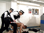 One guy gets forced to fuck by two horny cops
