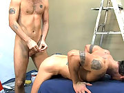 Two older gay men ass fucking at the work place