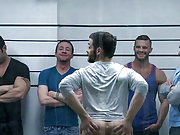 Gay stars have a huge orgy at the police station
