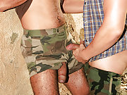 Two gay studs butt fuck deep and hard in the wood