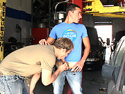 Lucky dude rides hard cock in the mechanic store