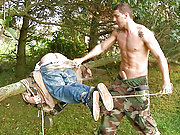 Young boy gets spanked and abused by the soldier