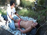 Sweet teen age guys make love to each other outdoors. Both of them are hot.