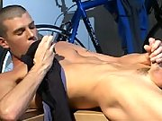 Short haired gay masturbating his fat dick in the garage