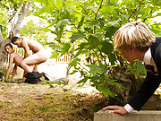 Hot series of college boys fucking in the garden