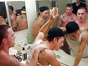 A bunch of frat brothers fuck a guy in the toilet